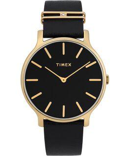 Reloj Transcend de 38mm con correa de cuero adornada Dorado/negro large