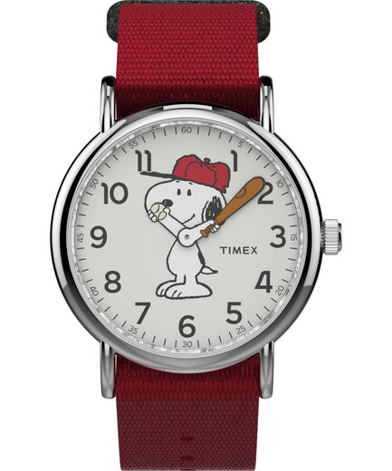 38024cf27aba Timex x Peanuts - Reloj Snoopy de 38 nbsp mm con correa de nylon Silver-