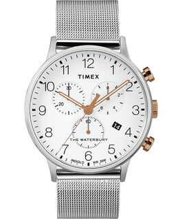 Reloj cronógrafo Classic Waterbury de 40mm con correa de malla metálica Acero inoxidable/Blanco large