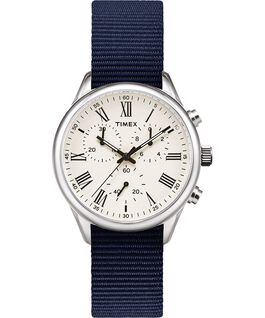 Reloj Weston Avenue de 38mm con correa de tela Acero inoxidable/Azul/Crema large