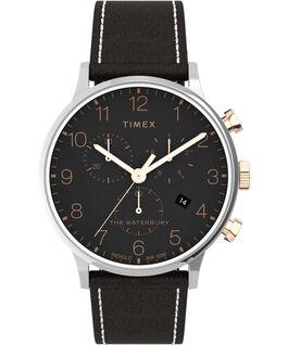Reloj cronógrafo Waterbury Classic de 40mm con correa de piel Acero inoxidable/Marrón large