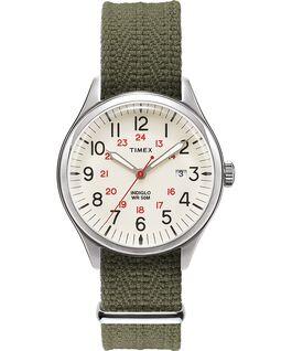 Reloj Waterbury United de 38mm con correa de tela Plateado/Verde/Natural large