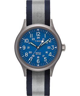 Reloj Allied de 40 mm con correa de tela reflectante reversible Silver-Tone/Blue large