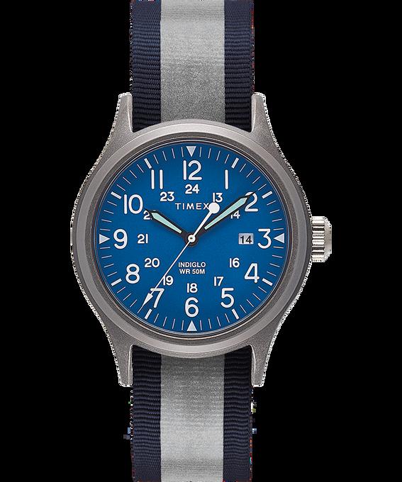 Reloj Allied de 40mm con correa de tela reflectante reversible Silver-Tone/Blue large