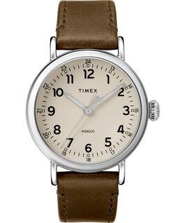 Reloj Standard de 40mm con correa de cuero Plateado/Verde/Gris large