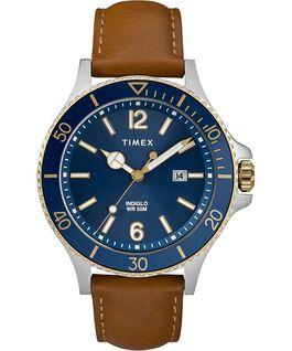 Reloj Harborside de 42mm con correa de cuero Cromado/Oscuro/Azul large