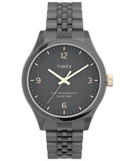 Reloj de acero inoxidable Waterbury Classic de 34mm Gris plomo/Negro/Oro rosa large