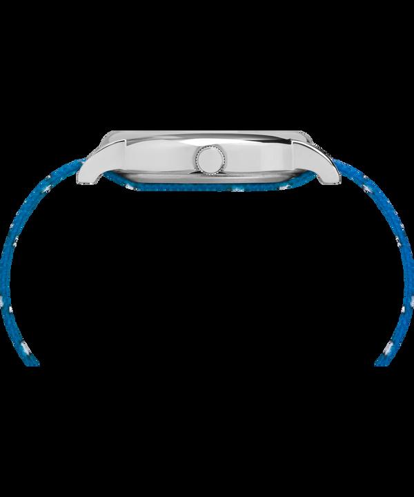 Timex x Peanuts - Reloj Lucy de 38mm con correa de tela Silver-Tone/Blue/White large