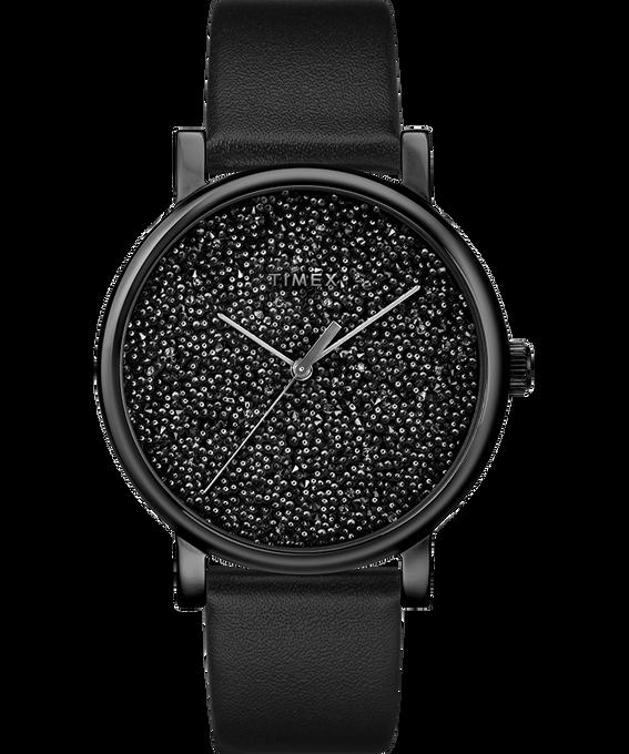 Reloj Crystal Opulence con esfera completa de Swarovski de 38mm con correa de cuero Dorado/negro large