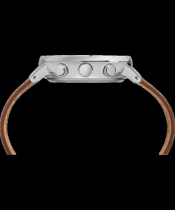 Reloj cronógrafo Fairfield de 41mm con correa de cuero Silver-Tone/Tan/White large