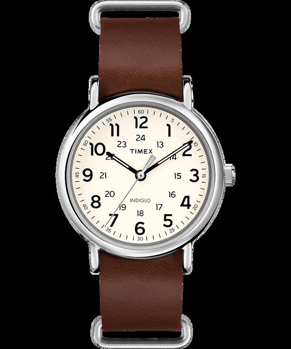Reloj Weekender de 40mm con correa de cuero Silver-Tone/Brown/Cream large