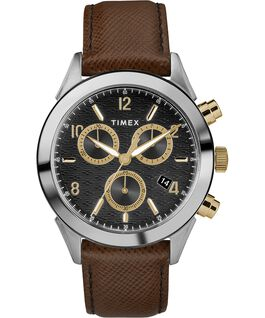 Reloj cronógrafo Torrington para hombre de 40mm con correa de cuero Dos tonos/Marrón/Negro/Dorado large