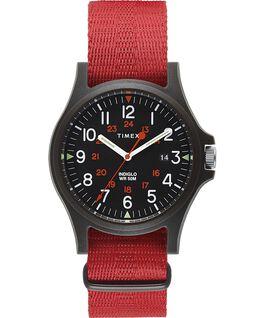 Reloj Acadia de 40mm con correa de tela Negro/Rojo large