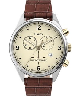 Reloj cronógrafo Waterbury Traditional de 42 mm con correa de piel Acero inoxidable/Marrón/Crema large