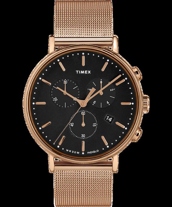Reloj cronógrafo Fairfield de 41mm con correa de malla metálica Tono oro rosa/Negro large