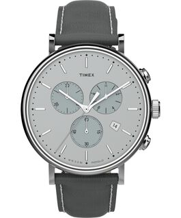 Fairfield Chronograph 41mm Leather Strap Watch Silver-Tone/Gray large