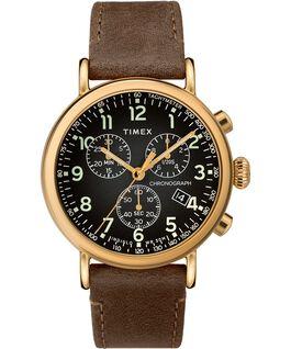 Reloj cronógrafo Standard de 40mm con correa de cuero Dorado/Marrón/Gris large