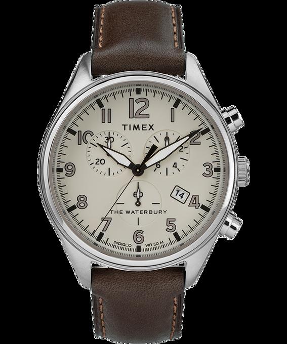 Reloj cronógrafo Waterbury Traditional con tres esferas de 42mm con correa de cuero Acero inoxidable/Marrón/Oscuro large