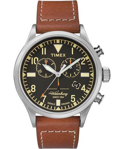 0e0db8673875 Reloj cron oacute grafo Waterbury Traditional de 42 nbsp mm con correa de  cuero Stainless-