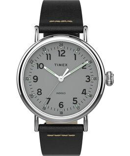 Reloj Standard de 40mm con correa de cuero Silver-Tone/Black/Silver-Tone large