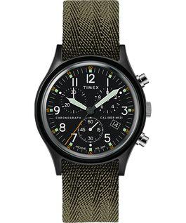 Reloj cronógrafo MK1 de 40mm con correa de tela y puntos marcadores en la esfera Negro/verde large