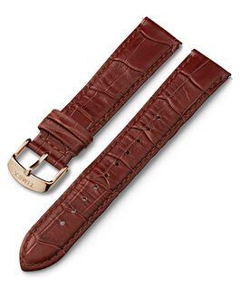 Correa de cuero con diseño de piel de cocodrilo de 20mm de cambio rápido con hebilla en tono dorado rosa Marrón large