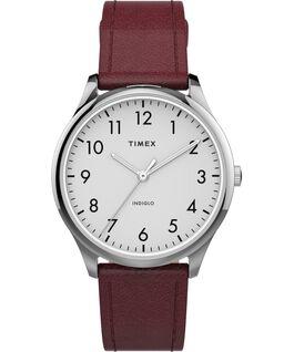 Reloj Easy Reader moderno de 32mm con correa de piel Plateado/Rojo/Blanco large