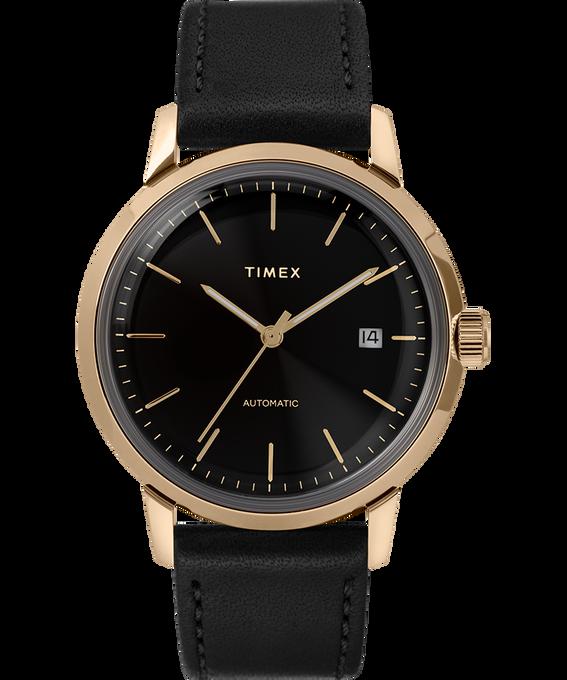 Reloj Marlin de 34mm de cuerda manual con correa de cuero Black/Gold-Tone large