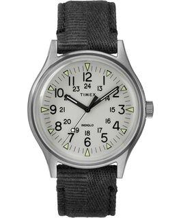 Reloj de acero MK1 de 40mm con correa de tela Acero inoxidable/Negro/Gris large