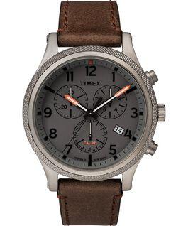 Reloj cronógrafo Allied LT de 42mm con correa de cuero Gris/Marrón large