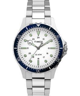 Reloj Navi XL de 41mm con correa de acero inoxidable Acero inoxidable/Blanco large
