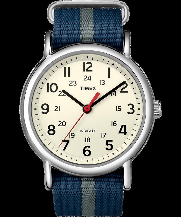 Reloj Weekender de 38mm con correa de tela Silver-Tone/Blue/White large
