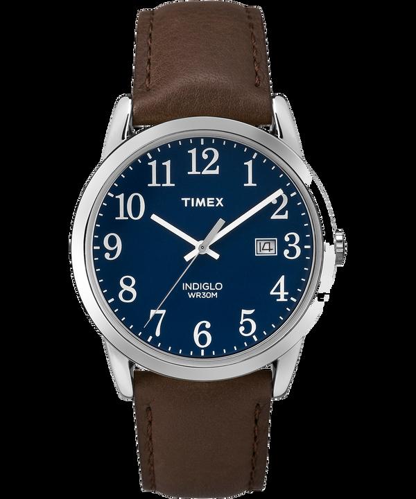 Reloj Easy Reader de 38mm con correa de cuero Silver-Tone/Brown/Blue large