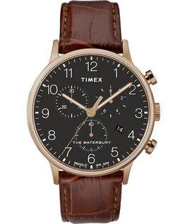 Reloj cronógrafo Waterbury Classic de 40mm con correa de piel Oro rosa/Marrón/Negro large