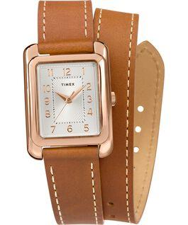 Reloj Addison de 25mm con correa de cuero de doble vuelta Tono oro rosa/Cuero oscuro/Plateado large