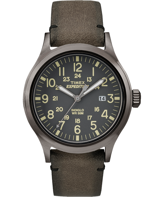 Expedition Scout 40mm Leather Watch Gray/Brown large