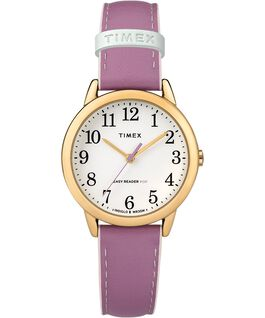 Reloj para mujer Easy-Reader Color Pop exclusivo de 30 mm con correa de piel Dorado/Morado/Blanco large