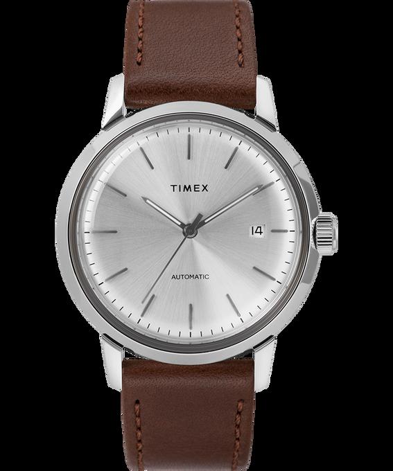 Reloj Marlin de 34mm de cuerda manual con correa de cuero Brown/Silver-Tone large