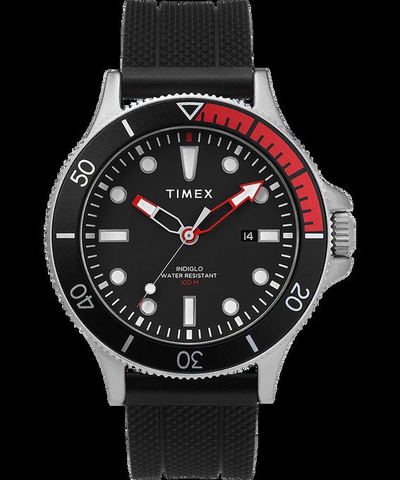 Reloj Allied Coastline de 43mm con bisel giratorio y correa de silicona Plateado/Negro large