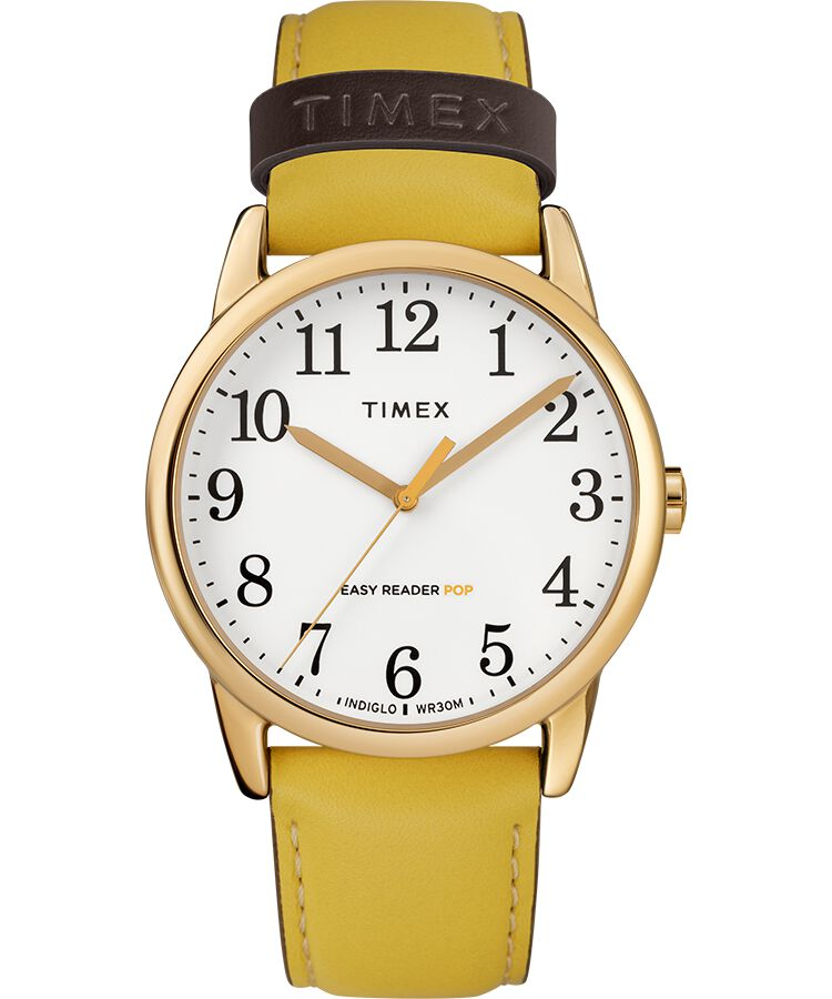 bdafeebc2787 Reloj Easy Reader Color Pop de 38 nbsp mm con correa de cuero  Dorado Amarillo