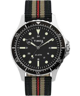 Navi XL 41mm Fabric Slip Thru Strap Watch Stainless-Steel/Black/Black large