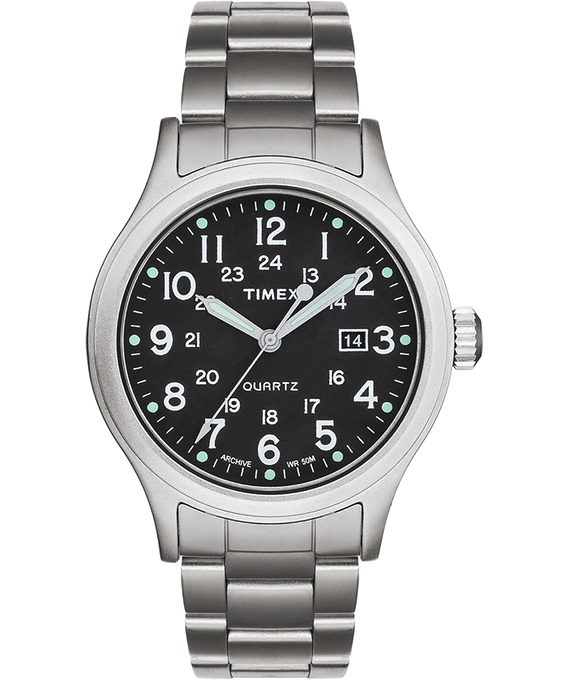 Reloj Allied de 40 mm con correa metálica de acero inoxidable Plateado/Acero inoxidable/Verde large