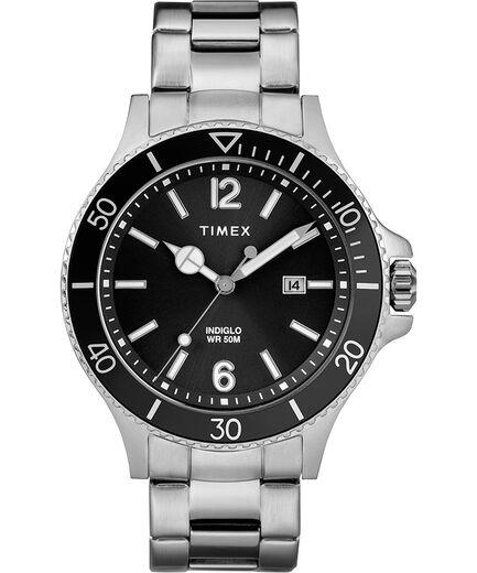 3eae0ba05228 Reloj Harborside de 42 nbsp mm con correa met aacute lica Cromado Plateado  Negro