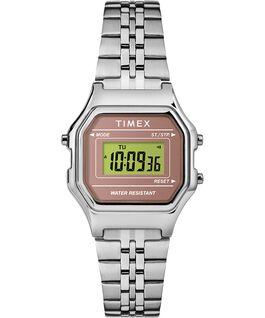 Reloj digital mini de 27mm con correa metálica Plateado/Rosa large