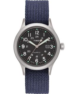 Allied 40mm Fabric Strap Watch with Dot Markers Silver-Tone/Blue/Green large