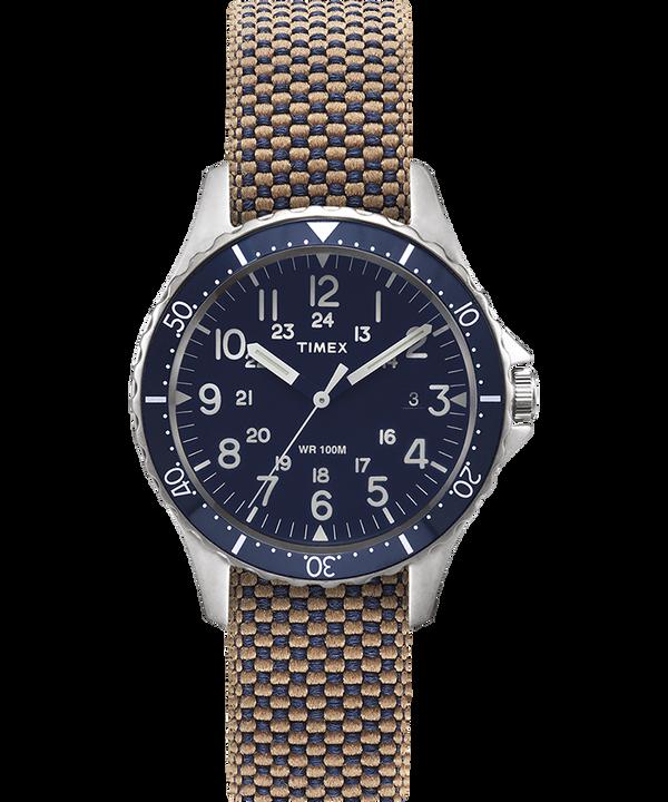 Reloj Navi Ocean de 38mm con correa de tela reversible lavada a la piedra Acero inoxidable/Azul/Negro large