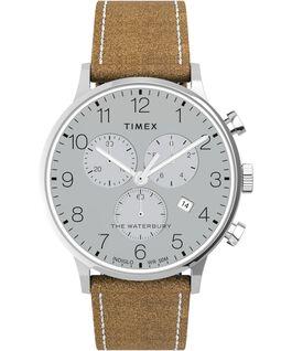 Reloj cronógrafo Waterbury Classic de 40mm con correa de piel Acero inoxidable/Camel large