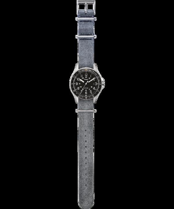 Reloj Navi Ocean de 38mm con correa de cuero lavado a la piedra Acero inoxidable/Gris/Negro large