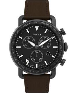 Reloj cronógrafo Port de 42mm con correa de piel Negro/Marrón large