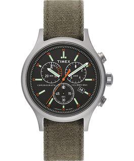 Reloj cronógrafo Allied de 42mm con correa de tela lavada a la piedra Plateado/Verde/Negro large